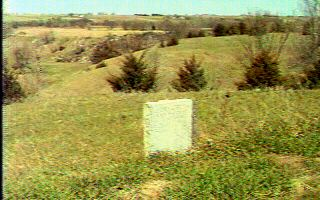 The Elm Creek marker and valley, looking west