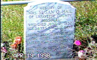 A closeup of Susan Hail's tombstone